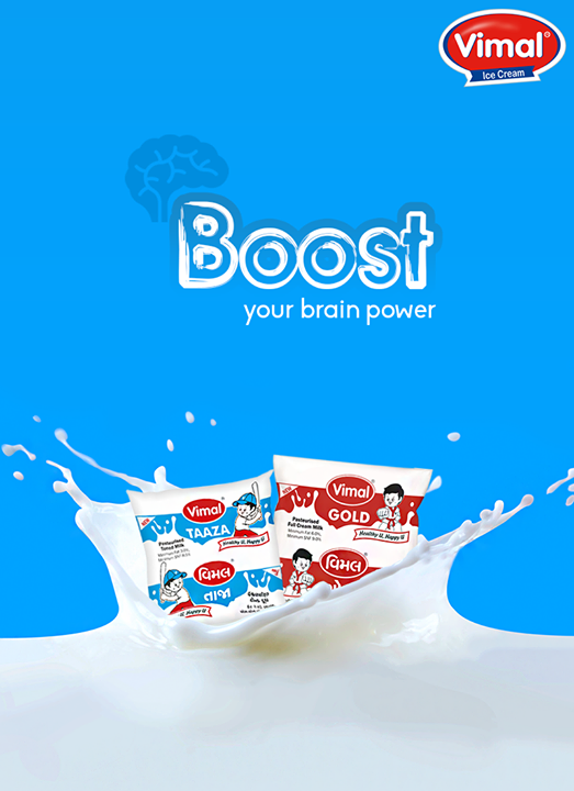 Drinking just one glass of milk a day could boost your brain power, let's boost your brain power with #VimalDairy Milk!  #VimalProducts #DairyProducts #MilkBbenefite #Vimal #ICecream #Ahmedabad