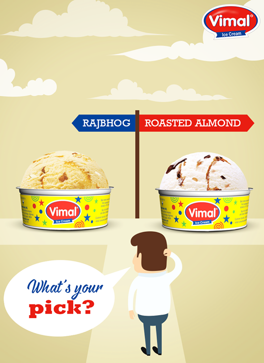 Confused??? Don't worry take both and enjoy.😋😉   #WhatsYourPick #ThisThat #SummerTime #IcecreamLovers #VimalIceCreams