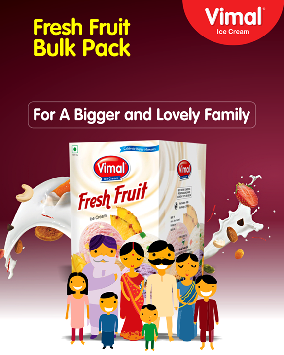 #Weekends are best with the family & fresh fruit ice cream from Vimal Ice Cream.  #BulkPack #FamilyPack #IceCreamLovers #Vimal #IceCream #VimalIceCream #RoyalTaste #Ahmedabad