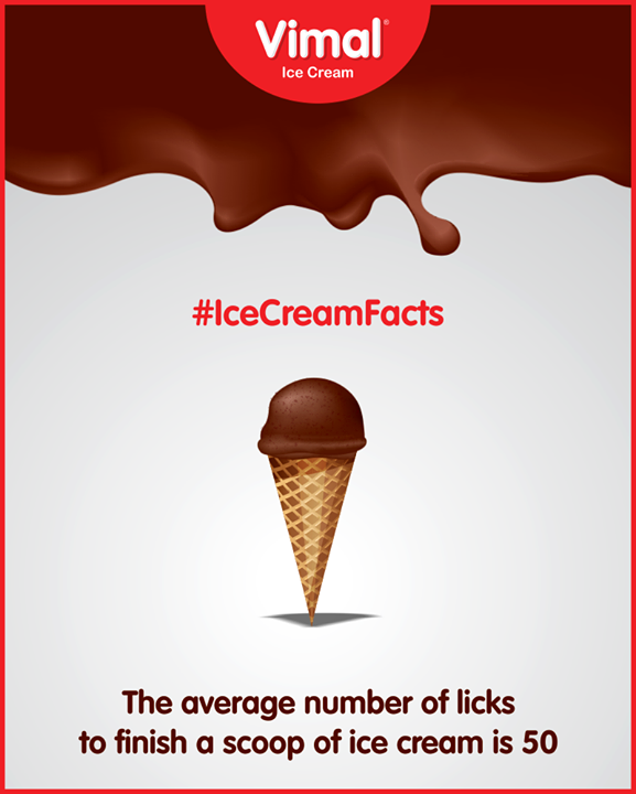 50 licks for 1 scoop!  #IceCreamFacts #IceCreamLovers #Vimal #IceCream #VimalIceCream #Ahmedabad