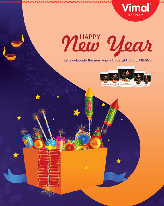 Let's celebrate the New Year with delightful ICE-CREAMS!  #FestiveWishes #HappyNewYear #NewYearWishes #Diwali #IndianFestivals #VimalIceCream #Ahmedabad