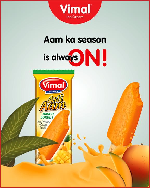 Taste the real aam at any time of year with Asli Aam Vimal Ice Cream.  #AsliAam #MangoIceCream #IceCream #IceCreamLovers #Vimal #IceCream #VimalIceCream #Ahmedabad