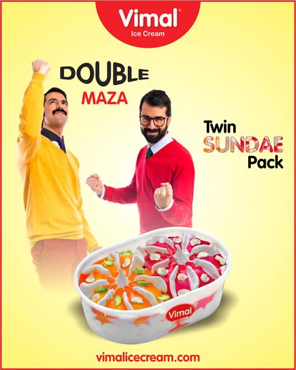 Enjoy the taste of mango & strawberries in one go with Vimal Ice Cream Twin Sundae Pack.  #TwinSundayPack #IceCreamLovers #Vimal #IceCream #VimalIceCream #Ahmedabad