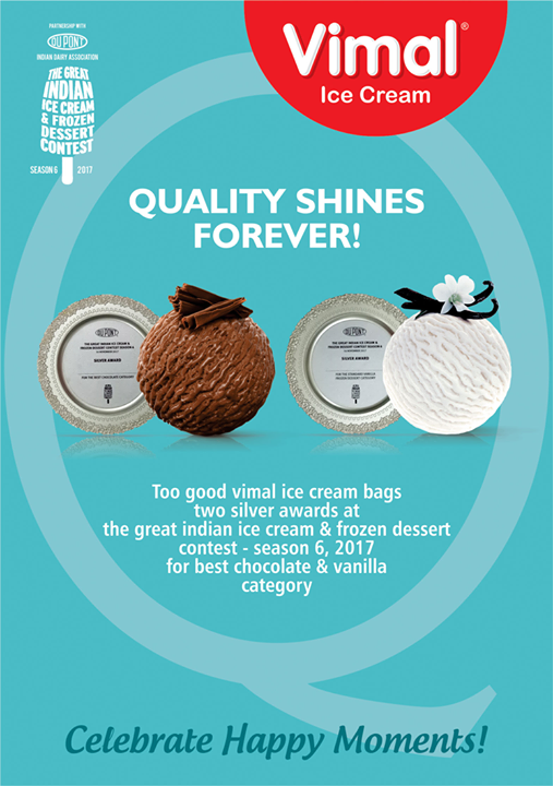 Proud moment for Vimal Ice Cream! We are yet again rewarded with 2 silver awards at The Great Indian Ice Cream & Frozen Dessert Contest Season 6, 2017  #Vimal #IceCream #VimalIceCream #Ahmedabad
