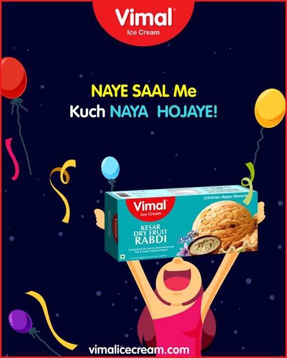 Naye saal ko banao aur mitha  kesar dry fruit rabdi ice cream ke saath.  #IceCreamLovers #Vimal #IceCream #VimalIceCream #Ahmedabad