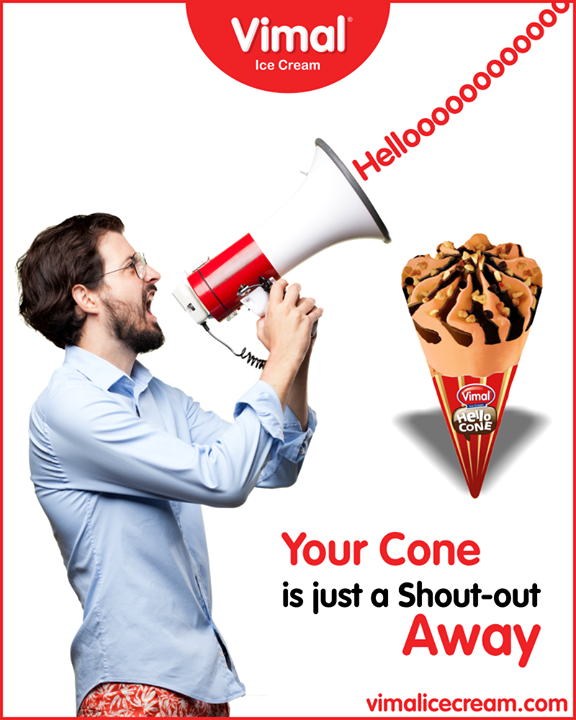 Make your day delicious with Hello Cone from Vimal Ice Cream.  #ShoutOutHello  #IceCreamLovers #Vimal #IceCream #VimalIceCream #Ahmedabad