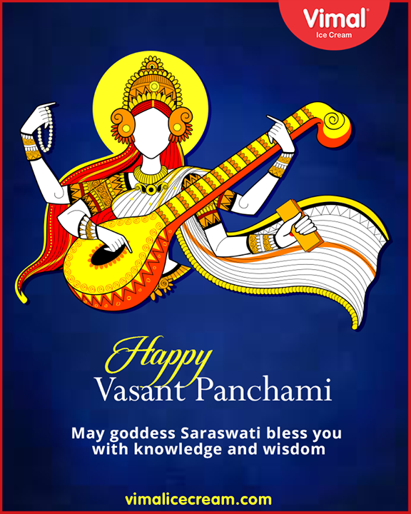 Greetings on Vasant Panchami.  #VasantPanchami #Festival #IndianFestival #SaraswatiPuja #Vimal #IceCream #VimalIceCream #Ahmedabad