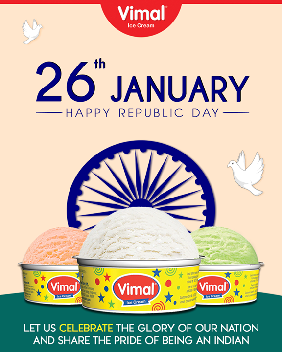 Let's celebrate the Republic Day with high spirits!  #RepublicDay #HappyRepublicDay #Salute #India #IceCreamLovers #Vimal #IceCream #VimalIceCream #Ahmedabad