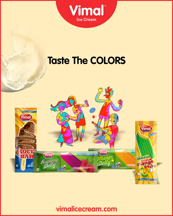 Dip yourself in Holi colors and let your tongue taste the colorful Vimal Ice Cream.  #Holi #IceCreamLovers #Vimal #IceCream #VimalIceCream #Ahmedabad