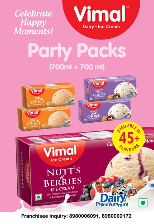 Vimal Ice Cream,  VimalPartyPacks, Summers, PartyTime, IcecreamTime, IceCreamLovers, Vimal, IceCream, VimalIceCream, Ahmedabad