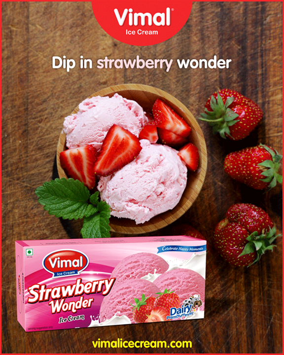 A must have in summer ;)  #StrawberryWonder #SummerTime #IcecreamTime #MeltSummer #IceCreamLovers #FrostyLips #Vimal #IceCream #VimalIceCream #Ahmedabad