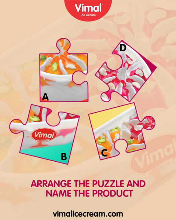 It's #PuzzleTime. Can you arrange the puzzle and name the product?  #IcecreamTime #IceCreamLovers #FrostyLips #Vimal #IceCream #VimalIceCream #Ahmedabad