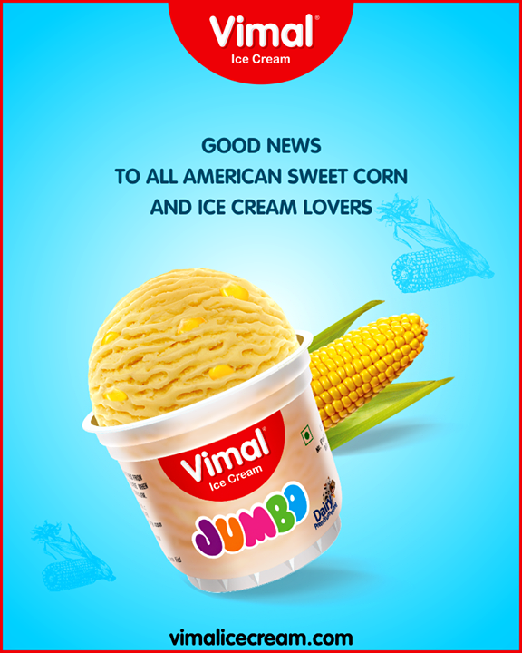 A great combination of American sweet corn and Ice Cream!  #AmericanSweetCornIceCream #IceCreamLovers #FrostyLips #Vimal #IceCream #VimalIceCream #Ahmedabad