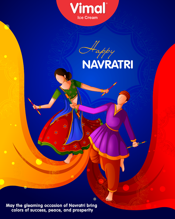 May the gleaming occasion of Navratri bring colors of success, peace, and prosperity  #HappyNavratri #Navratri #Navratri2018 #IndianFestivals #Dandiya #Garba #Vimal #IceCream #VimalIceCream #Ahmedabad