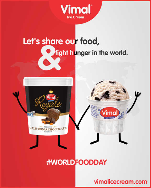 Let's share our food, & fight hunger in the world.  #WorldFoodDay #Vimal #IceCream #VimalIceCream #Ahmedabad