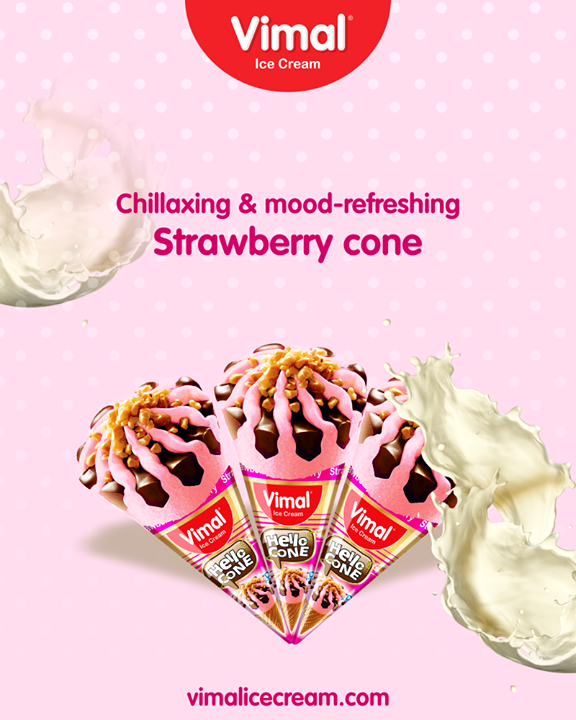 Lift up your mood since its weekend guys. Choose our mood-refreshing Strawberry cone and keep your worries at distance!   #StrawberryCone #VimalIceCream #IceCreamLove #LoveForIcecream #IcecreamIsBae #Ahmedabad #Gujarat #India