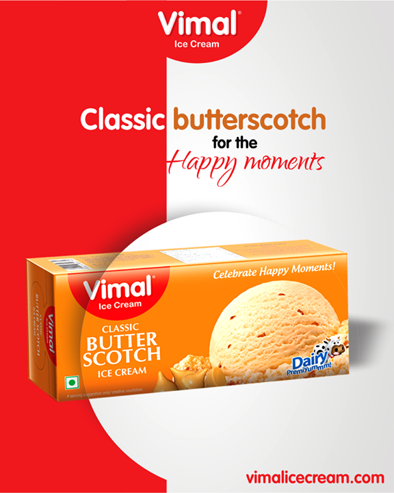 Choose our Classic butterscotch Ice-cream to make your moments more splendid!   #ClassicButterScotch #ButterScotch #VimalIceCream #IceCreamLove #LoveForIcecream #IcecreamIsBae #Ahmedabad #Gujarat #India