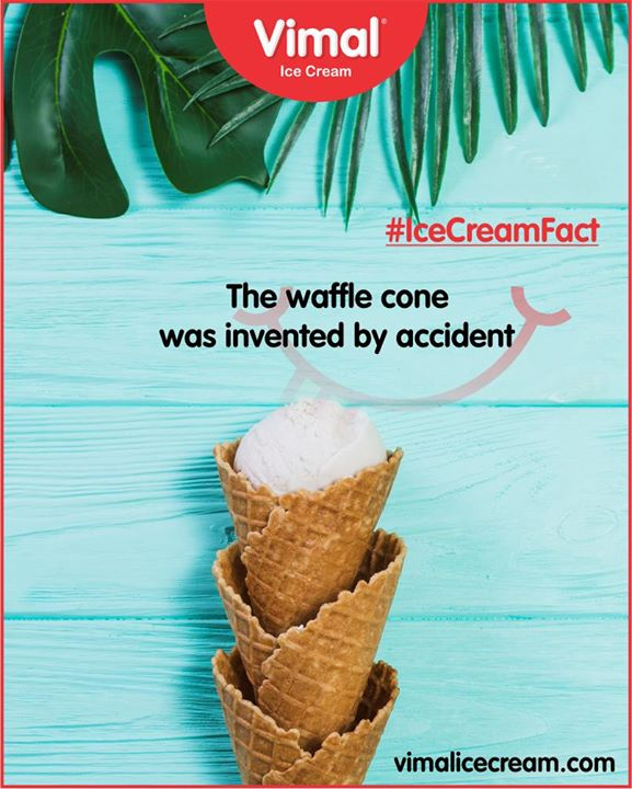 #DidYouKnow In 1904, an ice cream vendor ran out of cones. He was at the World's Fair in St. Louis, Missouri, and he was facing high demand from guests. Desperate for a solution, he turned to a waffle vendor nearby. Together, they came up with the idea to mold the waffles into cones and serve the ice cream in there. Customers loved the idea, and the waffle cone was officially born.  #VimalIceCream #IceCreamCake #Icecream #IcecreamLovers #LoveForIcecream #IcecreamIsBae #Ahmedabad #Gujarat #India
