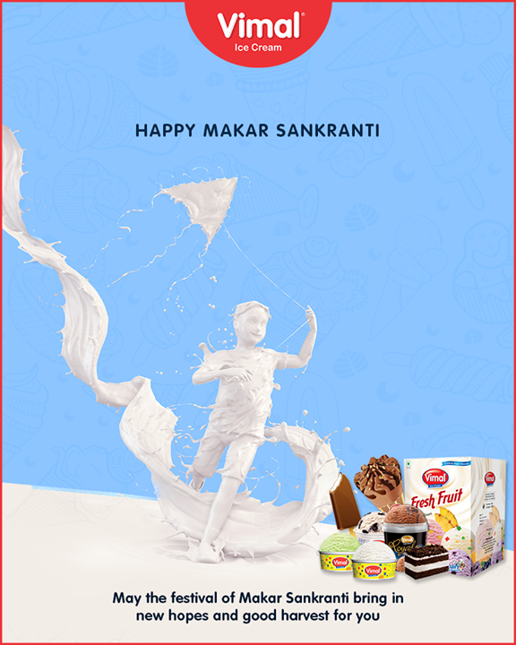 May the festival of Makar Sankranti bring in new hopes and good harvest for you.  #HappyMakarSankranti #HappyUttarayan #Uttarayan2019 #MakarSankranti #IndianFestivals #FestivalsOfIndia #KiteFestival #KiteFlying #VimalIceCream