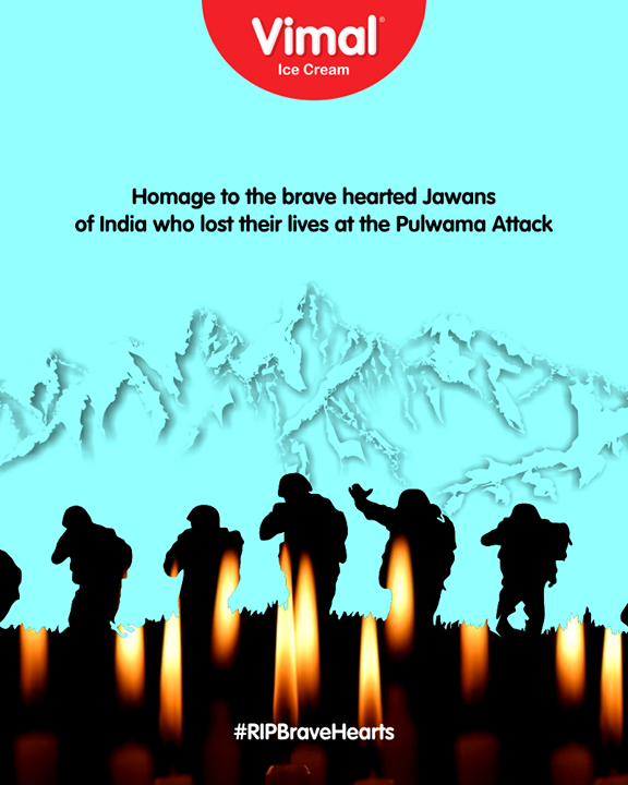 Homage to the brave hearted jawans of India who lost their lives at the Pulwama Attack  #RIPBraveHearts #PulwamaAttack #CRPFJawans #PulwamaTerrorAttack #CRPF #BlackDay #VimalIceCream #Ahmedabad #Gujarat #India