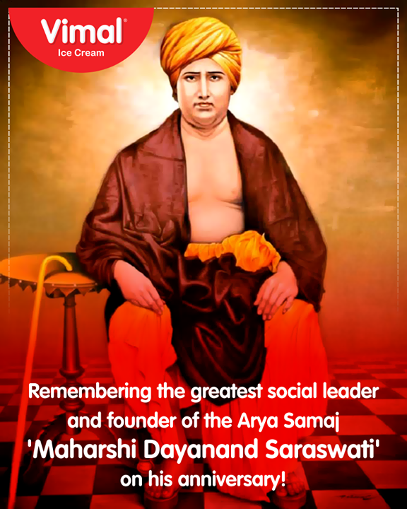 Remembering the greatest social leader and founder of the Arya Samaj 'Maharshi Dayanand Saraswati' on his anniversary!  #Celebrations #Icecream #IcecreamLovers #LoveForIcecream #IcecreamIsBae #Ahmedabad #Gujarat #India #VimalIceCream