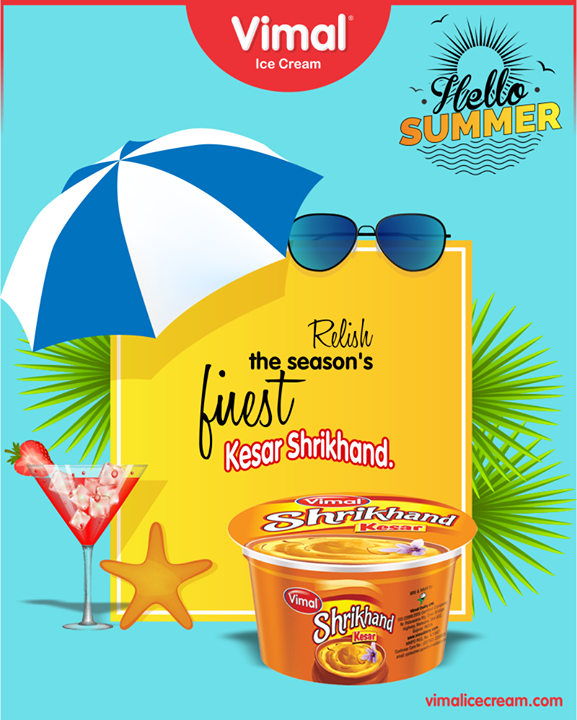 Enjoy the season's finest & tastiest; Kesar loaded KESAR SHRIKHAND!   #SummerDelights #summer #WelcomeSummer #Celebrations #Icecream #IcecreamLovers #LoveForIcecream #IcecreamIsBae #Ahmedabad #Gujarat #India #VimalIceCream