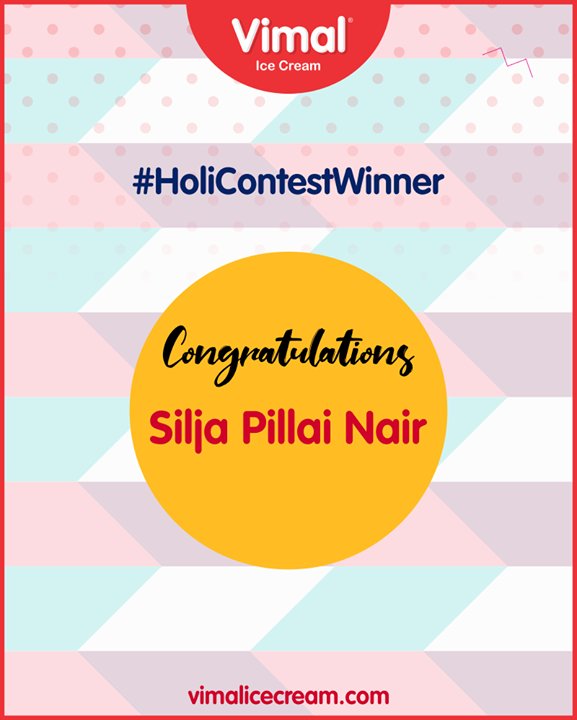 Congratulations, please inbox your contact details!  #HoliContestWinner #ContestWinner #VimalIceCream #Ahmedabad #Gujarat #India