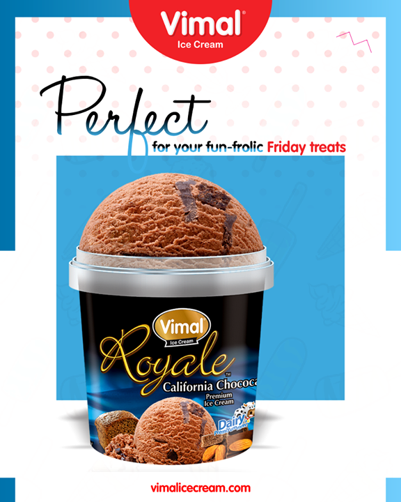 Celebrate the beginning of the weekend with Royale California Chocolate Ice-cream!   #Happiness #LoveForIcecream #IcecreamTime #IceCreamLovers #FrostyLips #Vimal #IceCream #VimalIceCream #Ahmedabad
