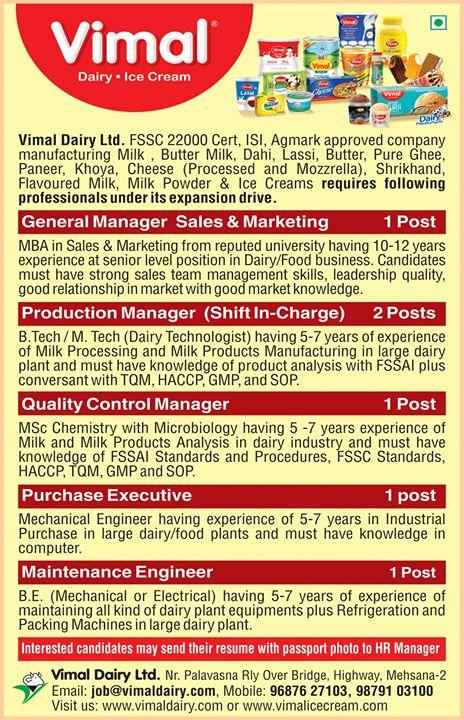 Vimal Ice Cream,  Hiring, Vimal, IceCream, VimalIceCream, Ahmedabad