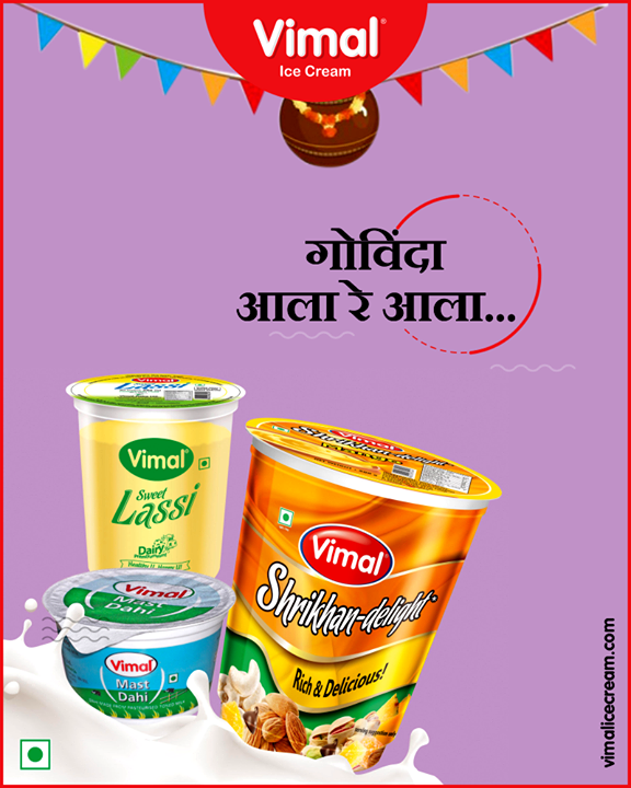 Govinda alaa re!   Let us celebrate the birthday of our Natkhat Kanha with Vimal Ice Cream!   #Janmastami #IcecreamTime #IceCreamLovers #FrostyLips #Vimal #IceCream #VimalIceCream #Ahmedabad
