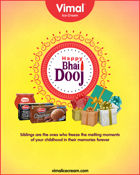 Siblings are the ones who freeze the melting moments of your childhood in their memories forever.  #BhaiDooj #Diwali2019 #BhaiDooj2019 #Celebration #FestiveSeason #IndianFestivals #BrotherSister #HappyBhaiDooj #VimalIceCream #Happiness #LoveForIcecream #IcecreamTime #IceCreamLovers #FrostyLips #Vimal #IceCream #Ahmedabad