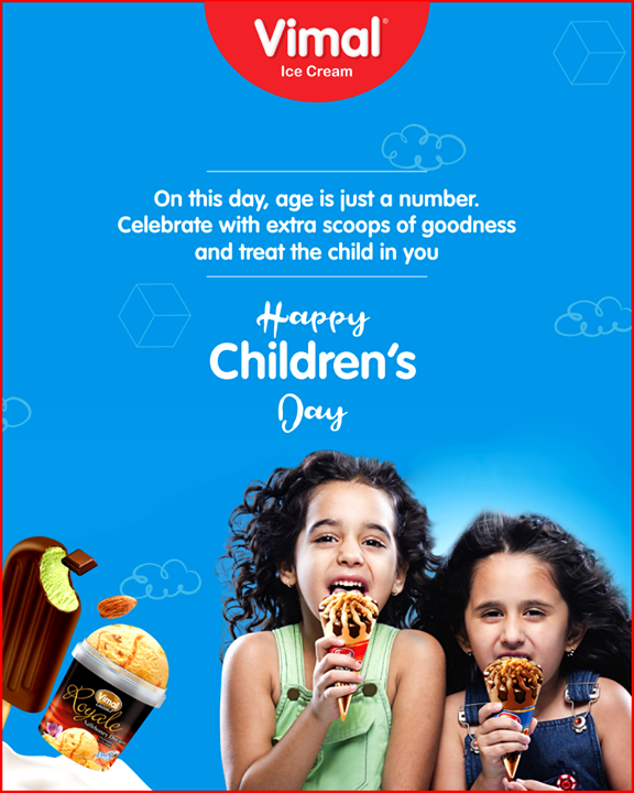 On this day, age is just a number. Celebrate with extra scoops of goodness and treat the child in you.    #HappyChildrensDay #ChildrensDay #14Nov #Vimal #IceCream #VimalIceCream #Ahmedabad