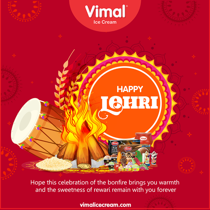 Hope this celebration of the bonfire brings you warmth and the sweetness of rewari remain with you forever.  #HappyLohri #Lohri #Lohri2020 #LohriCelebration #HarvestFestival #VimalIceCream #Icecreamisbae #Happiness #LoveForIcecream #IcecreamTime #IceCreamLovers #FrostyLips #Vimal #IceCream #Ahmedabad