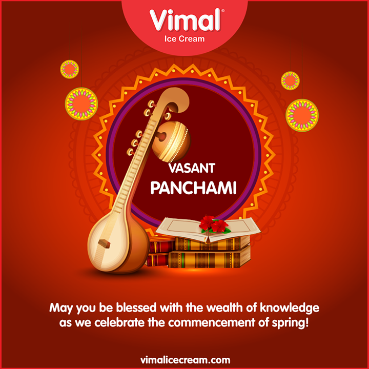 May you be blessed with the wealth of knowledge as we celebrate the commencement of spring!  #SaraswatiPuja #VasanthaPanchami #VasantPanchami2020 #LoveForIcecream #IcecreamTime #IceCreamLovers #FrostyLips #Vimal #IceCream #VimalIceCream #Ahmedabad