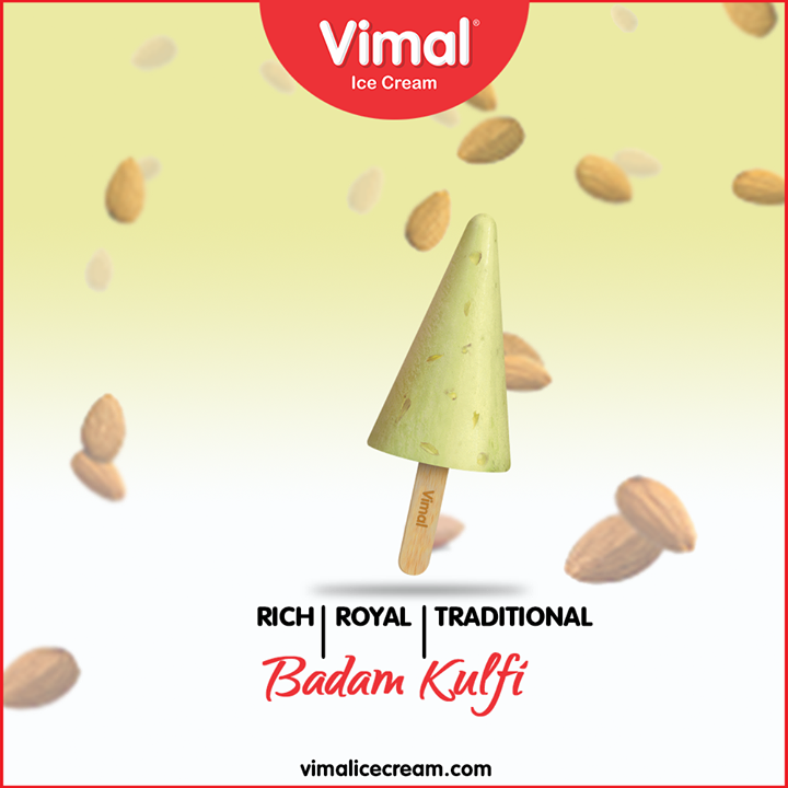Let the rich, royal and traditional Badam Kulfi make a mark in your heart!  #LoveForIcecream #IcecreamTime #IceCreamLovers #FrostyLips #Vimal #IceCream #VimalIceCream #Ahmedabad