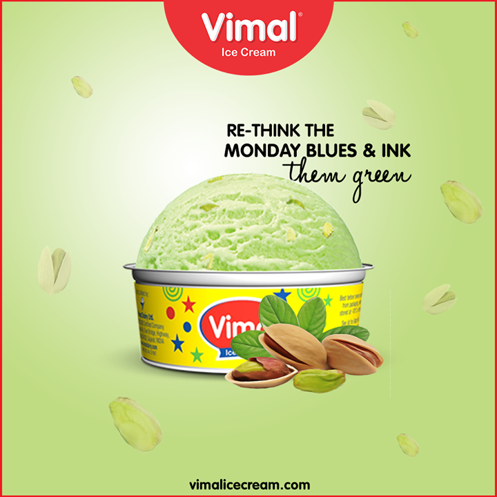 Re-think the Monday blues & ink them green with the gracious and gorgeous pistachio ice-cream.   #IcecreamTime #IceCreamLovers #FrostyLips #Vimal #IceCream #VimalIceCream #Ahmedabad