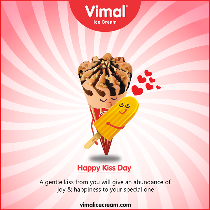 A gentle kiss from you will give an abundance of joy & happiness to your special one.  Celebrate #KissDay to express love, care and affection with Vimal Icecreams.  #HappyKissDay #LoveForIcecream #IcecreamTime #IcecreamLovers #FrostyLips #FrostyKiss #Vimal #VimalIcecream #Ahmedabad