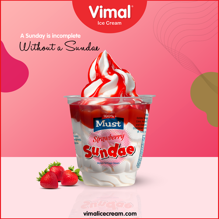 Treat your taste buds with the heavenly taste of our Strawberry Sundae with your friends and family at Vimal Ice Cream  #Happiness #LoveForIcecream #IcecreamTime #IceCreamLovers #FrostyLips #Vimal #IceCream #VimalIceCream #Ahmedabad