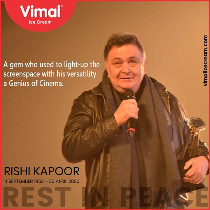 A gem who used to light up the screen space with his versatility - a Genius of Cinema.   #RIPRanbirKapoor #IcecreamTime #IceCreamLovers #FrostyLips #Vimal #IceCream #VimalIceCream #Ahmedabad