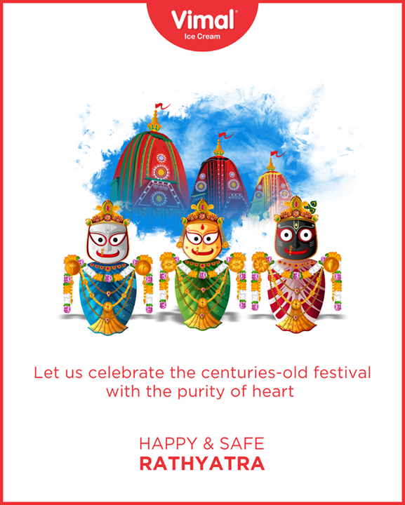 Let us celebrate the centuries-old festival with the purity of heart  #RathYatra #RathYatra2020 #JagannathRathYatra #IcecreamTime #IceCreamLovers #FrostyLips #Vimal #IceCream #VimalIceCream #Ahmedabad