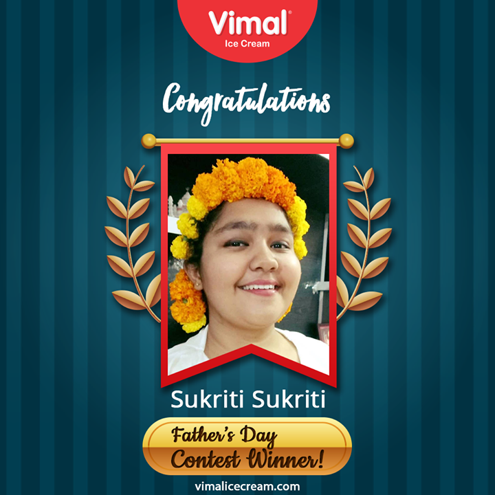 Congratulations!!  #Congratulations #ContestWinner #FacebookContest #FathersDayContest #IcecreamTime #IceCreamLovers #FrostyLips #Vimal #IceCream #VimalIceCream #Ahmedabad