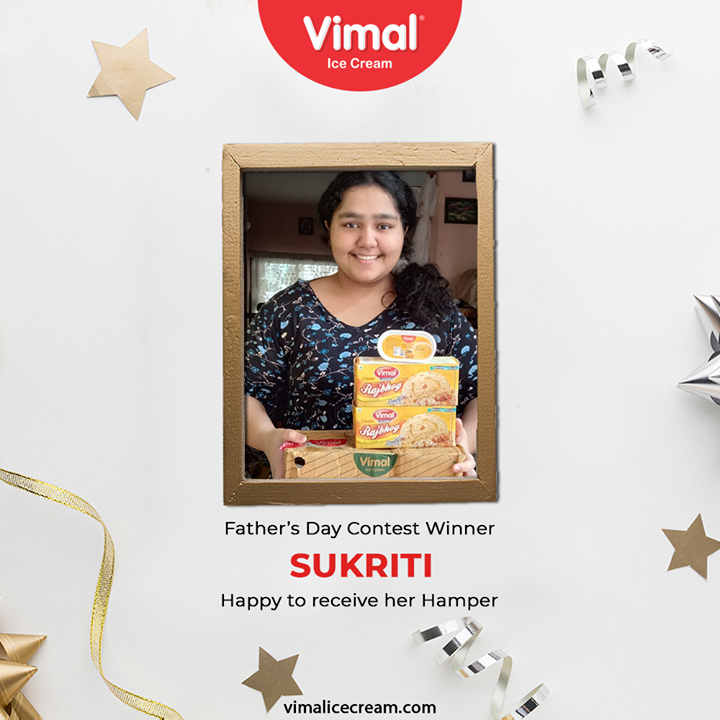 Father's day contest winner sukriti, happy to receive her hamper.  #ContestWinner #FacebookContest #FathersDayContest #IcecreamTime #IceCreamLovers #FrostyLips #Vimal #IceCream #VimalIceCream #Ahmedabad