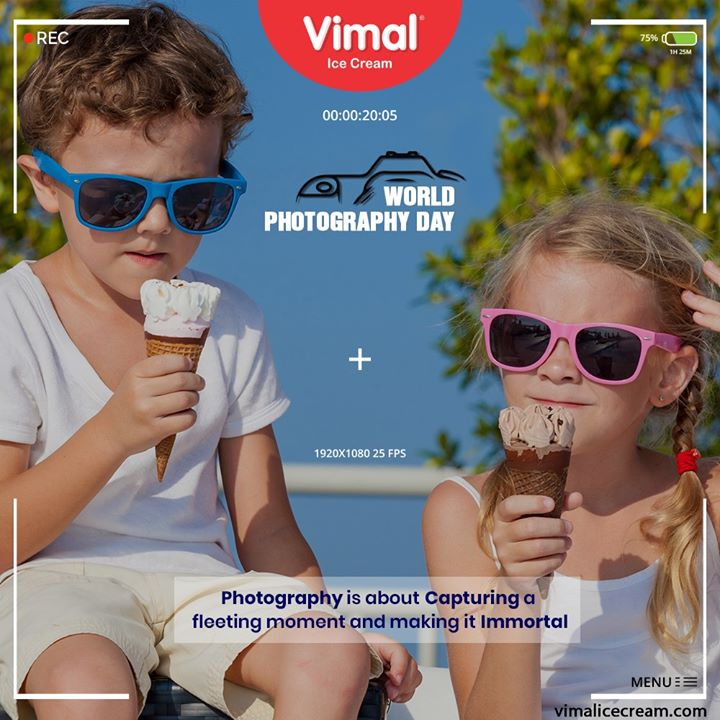 Photography is about capturing a fleeting moment and making it immortal.  #WorldPhotographyDay #PicturePerfect #WorldPhotographyDay2020 #IcecreamTime #IceCreamLovers #FrostyLips #Vimal #IceCream #VimalIceCream #Ahmedabad
