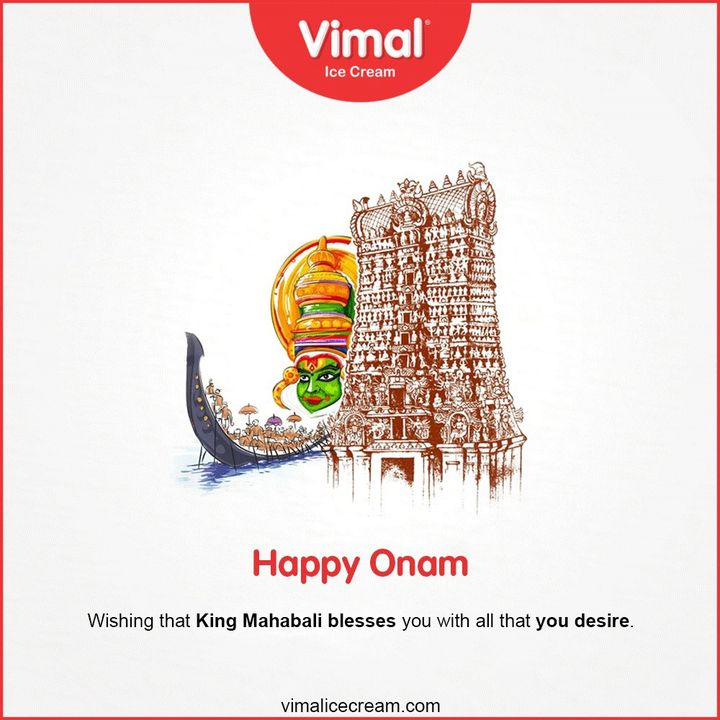 Wishing that King Mahabali blesses you with all that you desire.  #HappyOnam #Onam #Onam2020 #IceCreamLovers #FrostyLips #Vimal #IceCream #VimalIceCream #Ahmedabad