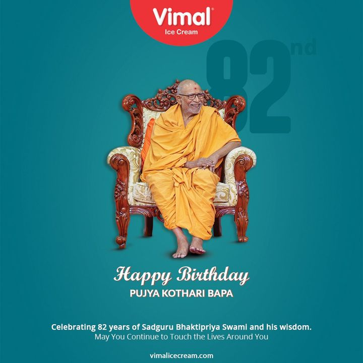 Celebrating 82 years of Sadguru Bhaktipriya Swami and his wisdom. May You Continue to Touch the Lives Around You  #82ndBirthday #HappyBirthday #VimalIceCream #IceCreamLovers #FrostyLips #Vimal #IceCream #Ahmedabad