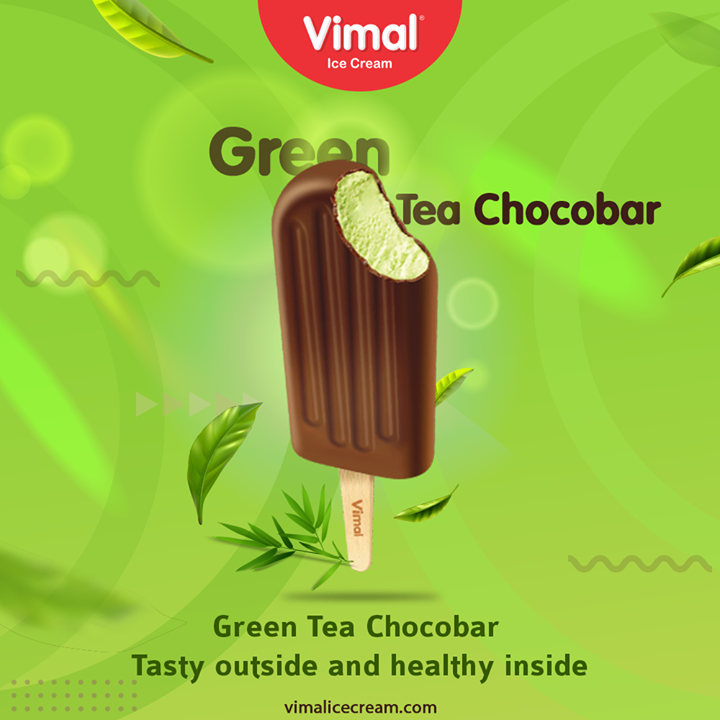 Green Tea Chocobar  Healthy green tea extracts draped in Dark and chocolatey crunch outside. Have it now.  #VimalIceCream #IceCreamLovers #FrostyLips #Vimal #IceCream #Ahmedabad
