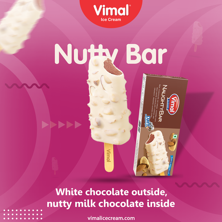 White chocolate on the outside and loaded with nutty milk chocolate inside.  #VimalIceCream #IceCreamLovers #FrostyLips #Vimal #IceCream #Ahmedabad
