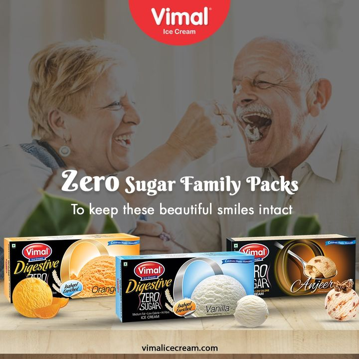 Zero Sugar Family Packs will keep the beautiful smiles of your family intact.  #VimalIceCream #IceCreamLovers #FrostyLips #Vimal #IceCream #Ahmedabad