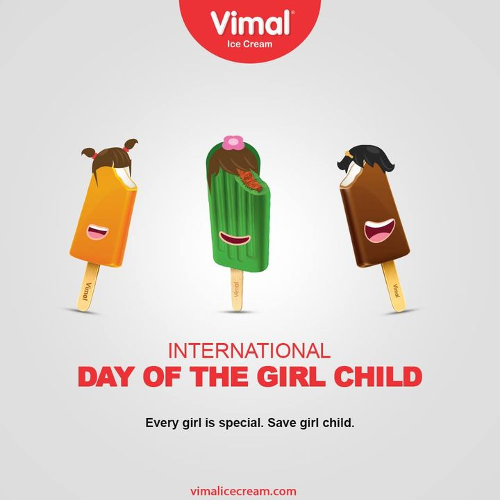 Every girl is special, Happy International Day of Girl Child.  #InternationalDayoftheGirlChild #GirlChild #IDotGC #IDotGC2020 #VimalIceCream #IceCreamLovers #Vimal #IceCream #Ahmedabad