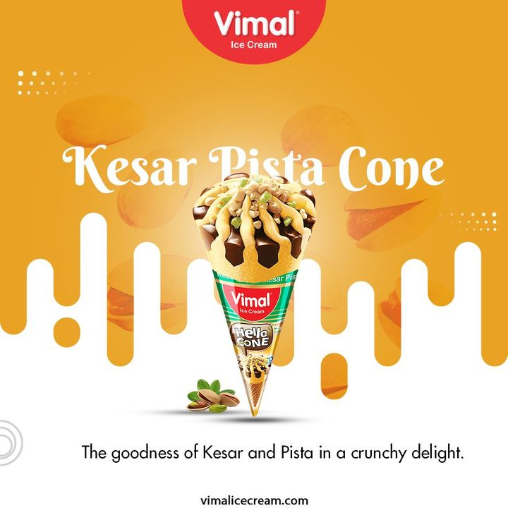 Kesar Pista ConeThe goodness of Kesar and Pista in a crunchy delight.  #VimalIceCream #IceCreamLovers #Vimal #IceCream #Ahmedabad